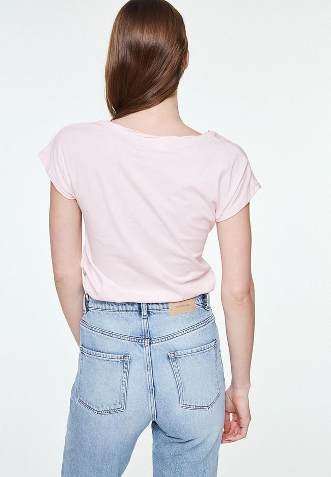 T-shirt uni rose pale en coton bio - laale - Armedangels num 1