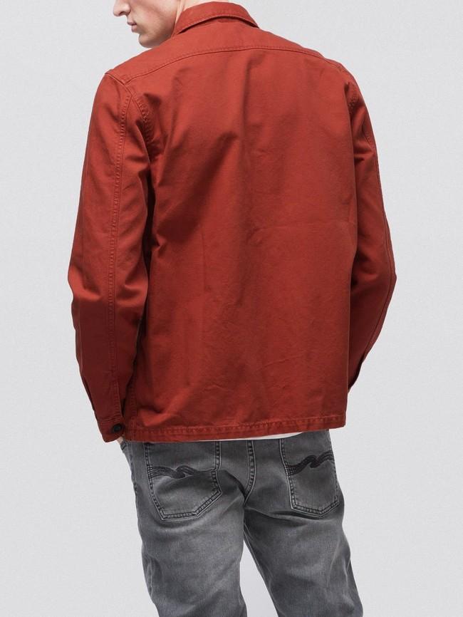 Veste zipée rouge en coton bio - sten zip - Nudie Jeans num 3
