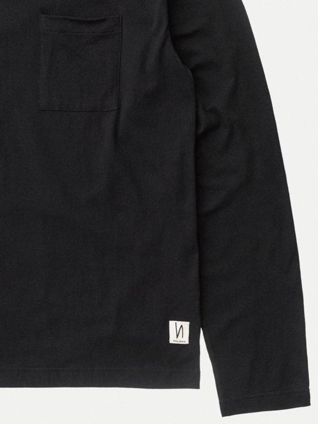 T-shirt manches longues à poche noir en coton bio - rudi - Nudie Jeans num 5
