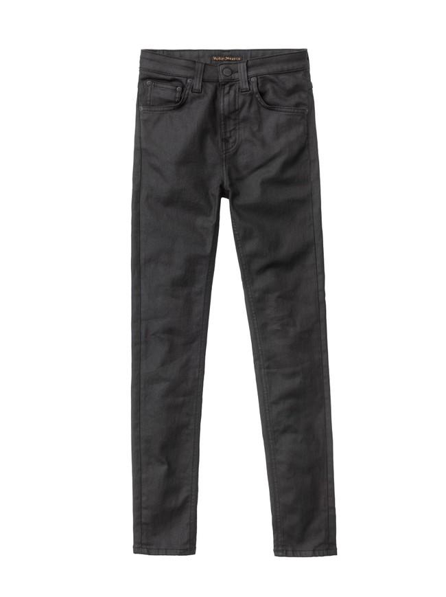 Jean skinny taille haute noir enduit en coton bio - hightop tilde painted black - Nudie Jeans num 5