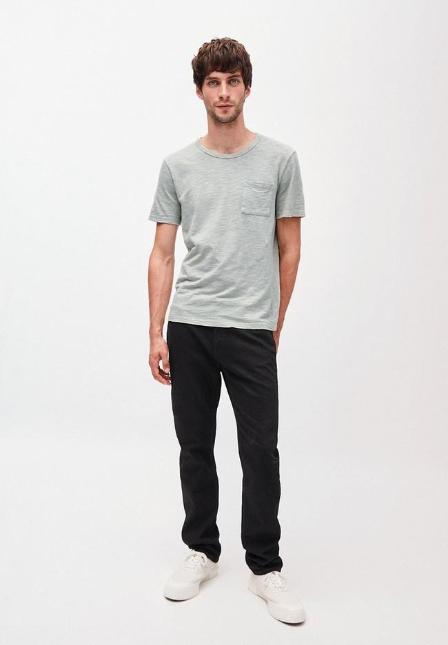 T-shirt avec poche gris/vert en coton bio - paaul pocket - Armedangels num 2