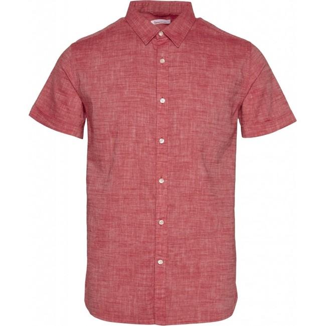 Chemise à manches courtes rouge en lin et coton bio - larch - Knowledge Cotton Apparel
