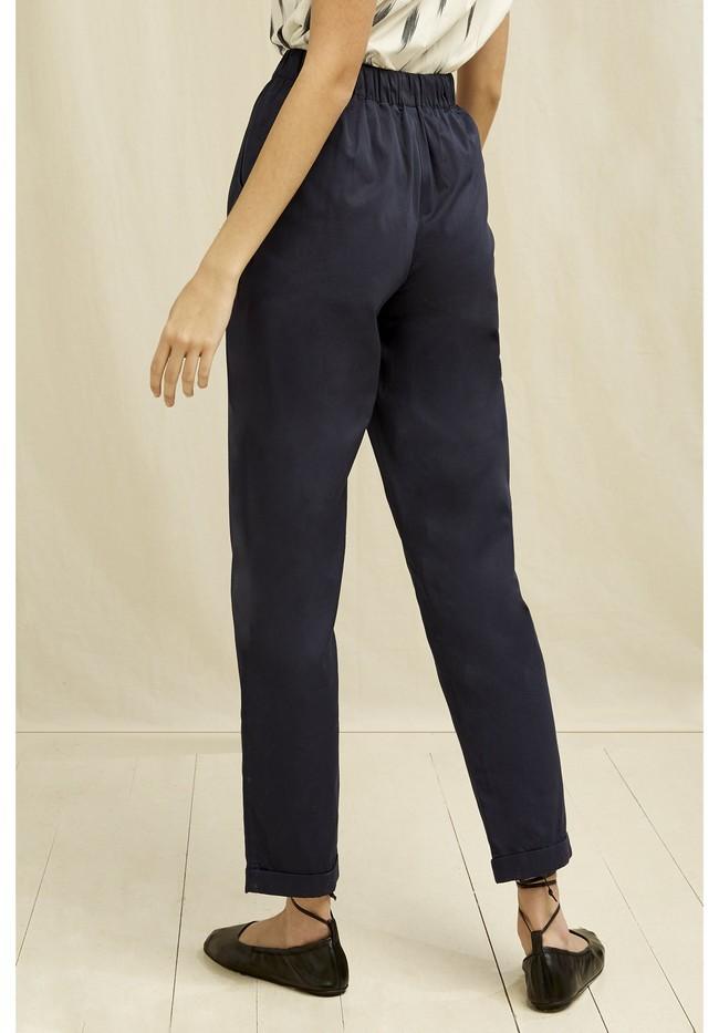 Pantalons à pinces marine en coton bio - tinsley - People Tree num 2