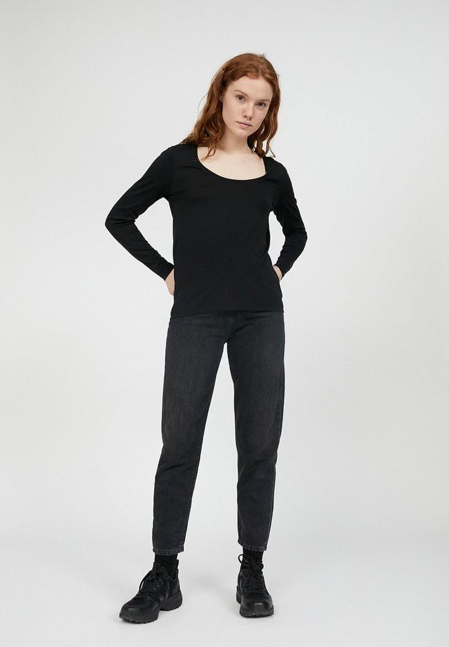 T-shirt à manches longues noir en tencel et coton bio - jamaal - Armedangels num 1