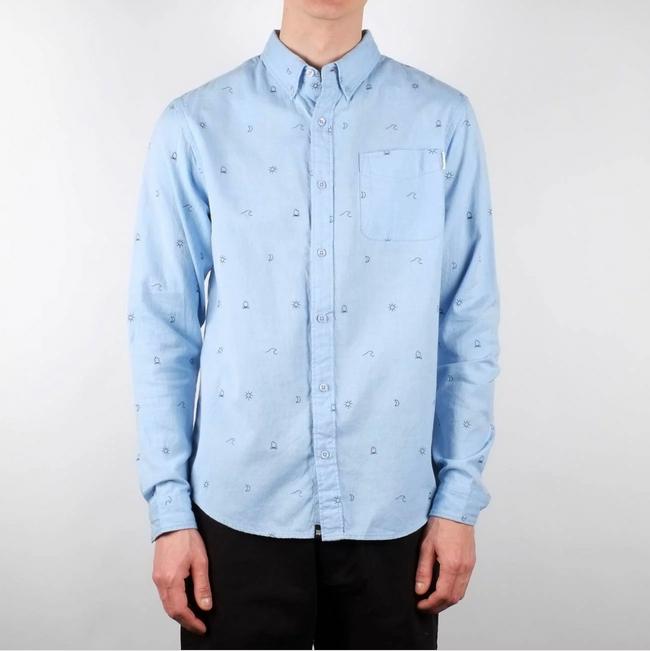 Chemise bleue à motifs en coton bio - Dedicated