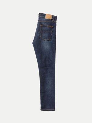 Jean slim délavé bleu foncé coton bio - lean dean dark deep worn - Nudie Jeans num 7