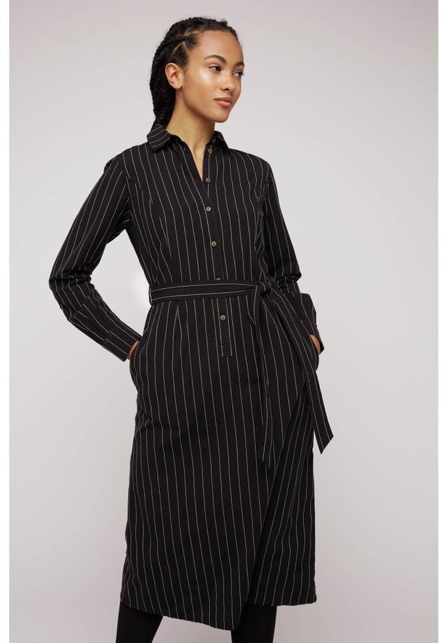 Robe chemise rayée noire en coton bio - isadora - People Tree