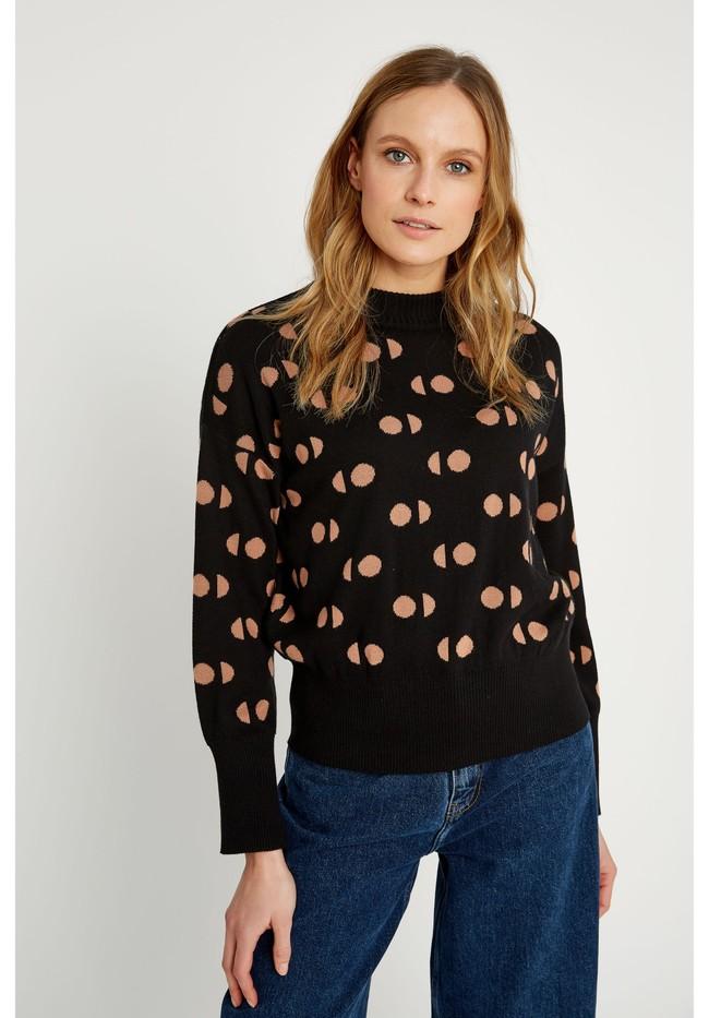 Pull à motifs noir en coton bio - emilia - People Tree