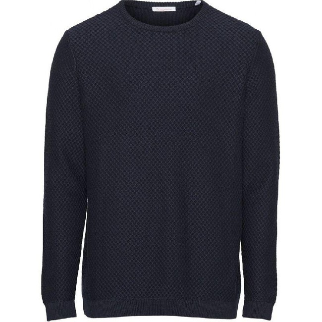 Pull col rond bleu nuit en coton bio - field crew neck knit - Knowledge Cotton Apparel