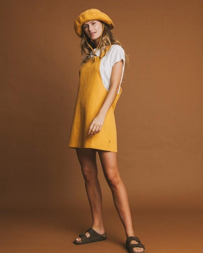 Robe salopette moutarde en chanvre et coton bio - amelie - Thinking Mu num 3