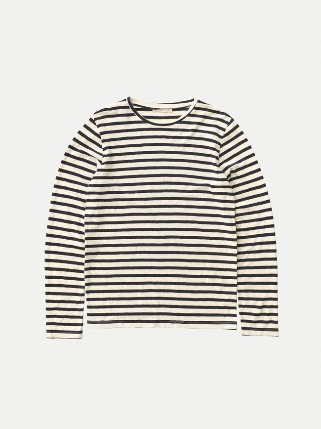 T-shirt manches longues rayé en coton bio - orvar - Nudie Jeans num 2