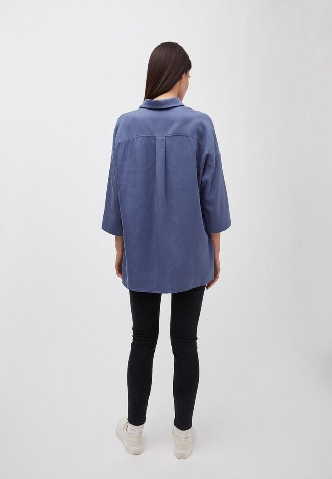 Chemise à manches courtes bleue en tencel - cassandraa - Armedangels num 1