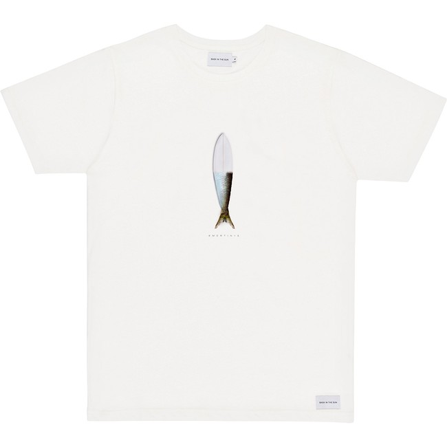 T-shirt en coton bio white surfish - Bask in the Sun