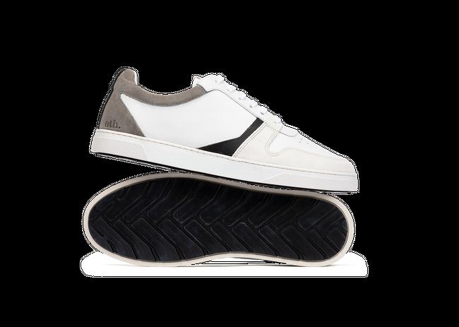 Chaussure en glencoe cuir blanc / suède gris clair - Oth