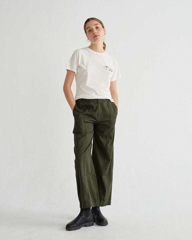 Pantalon ample vert forêt en coton bio - maia - Thinking Mu num 1