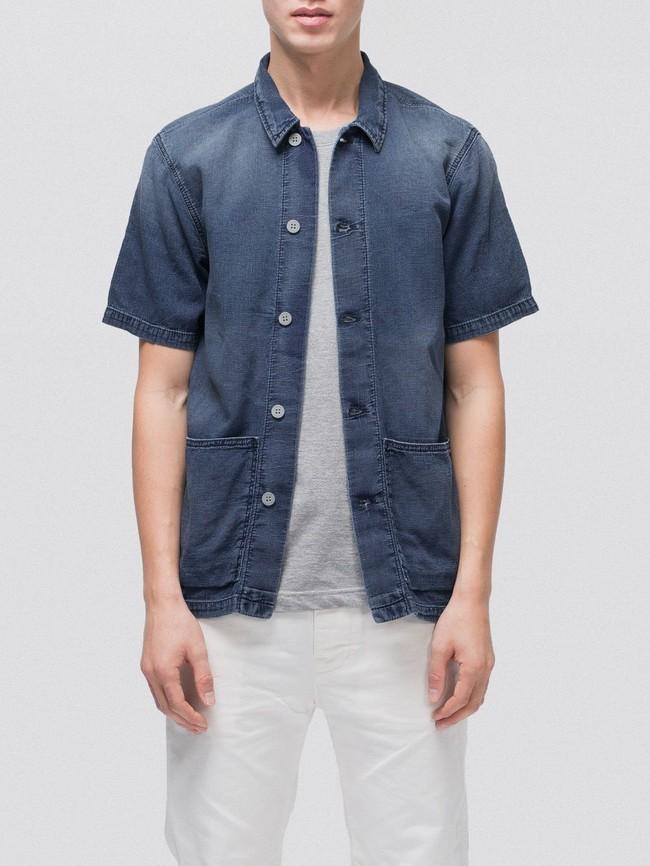 Chemise manches courtes jean en coton bio - svante cuban - Nudie Jeans