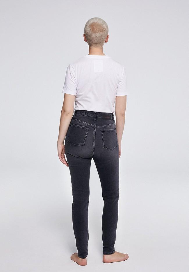 Jean skinny taille haute gris délavé en coton bio - ingaa - Armedangels num 2
