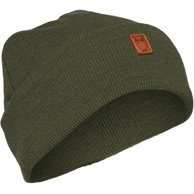 Bonnet à revers vert en laine bio - Knowledge Cotton Apparel