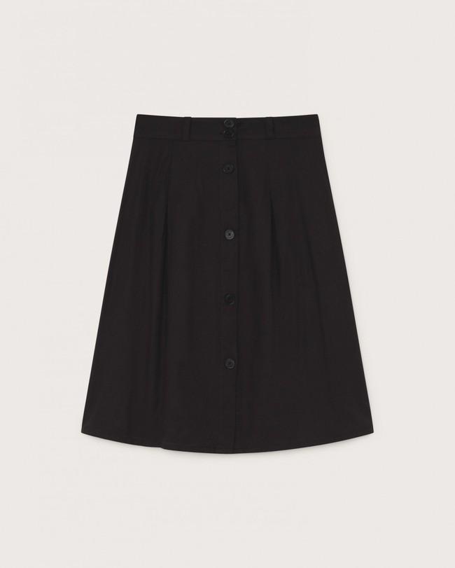 Jupe mi-longue noire en coton bio - tugela - Thinking Mu num 4
