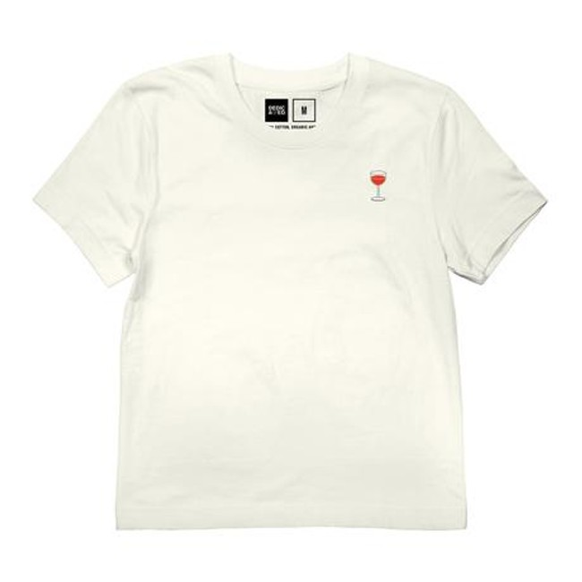 T-shirt blanc motif en coton bio - wine glass - Dedicated num 2