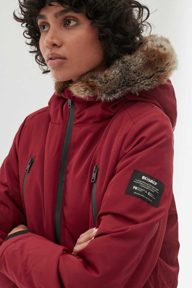 Manteau long rouge en polyester recyclé - livorno - Ecoalf num 2
