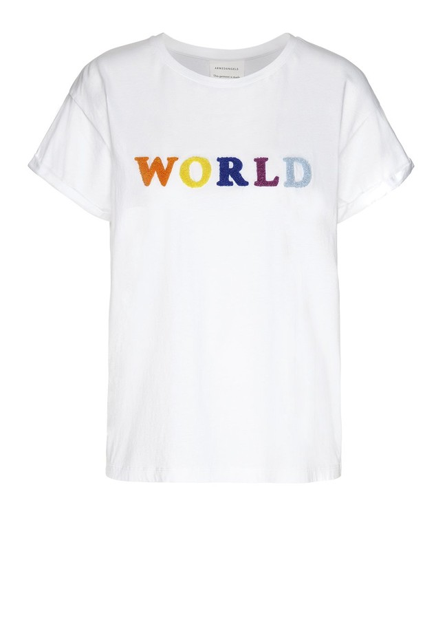T-shirt avec imprimé blanc en coton bio - naalin world - Armedangels num 4