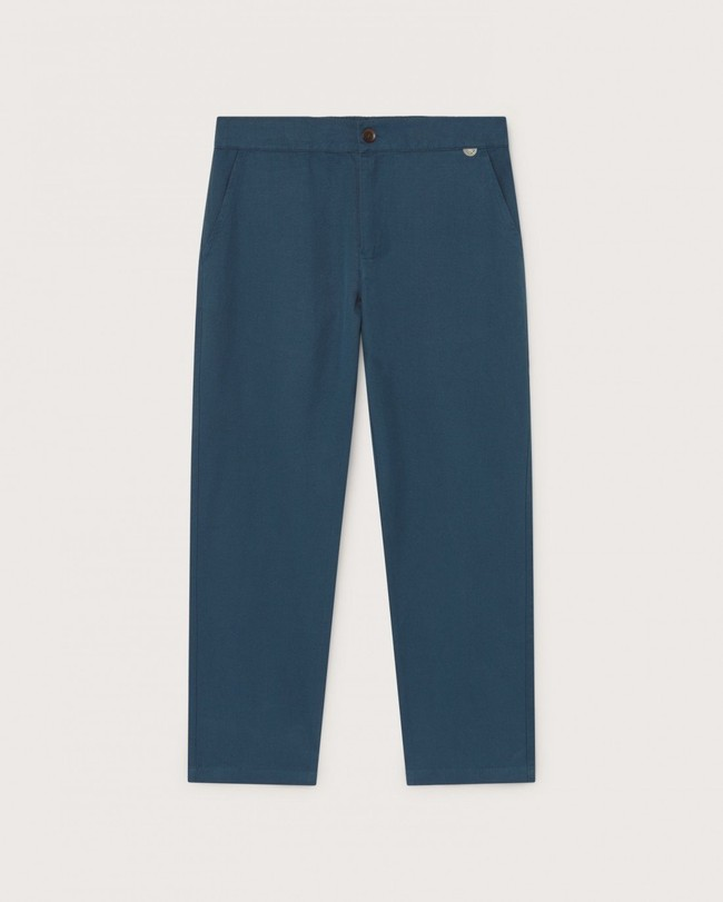 Pantalon bleu canard en chanvre, coton bio et tencel - dafne - Thinking Mu num 4