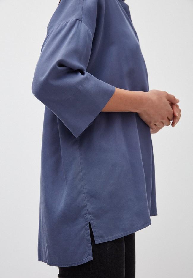 Chemise à manches courtes bleue en tencel - cassandraa - Armedangels num 2