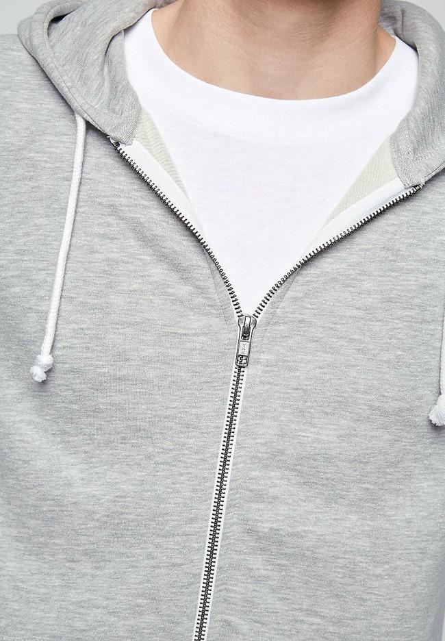 Veste zippée grise en coton bio et polyester recyclé - joaa - Armedangels num 3
