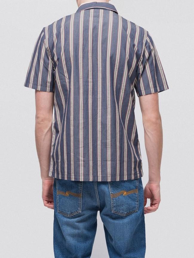 Chemise manches courtes rayée en coton bio - svante cuban - Nudie Jeans num 1
