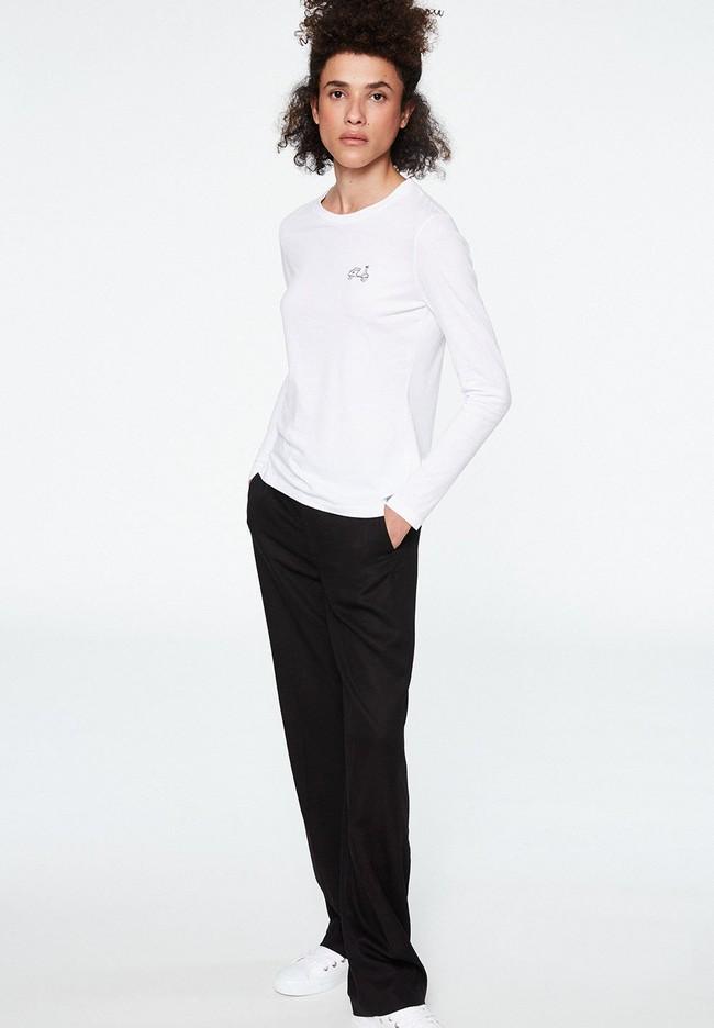T-shirt manches longues brodé en coton biologique - laraa vespa - Armedangels num 3