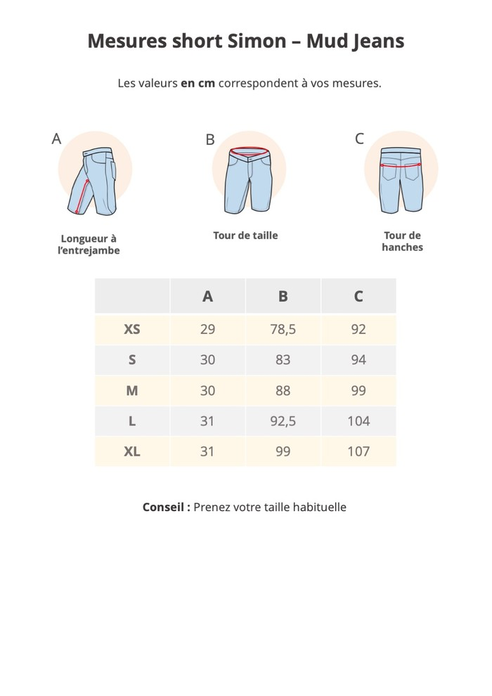 Guide de taille Mud Jeans