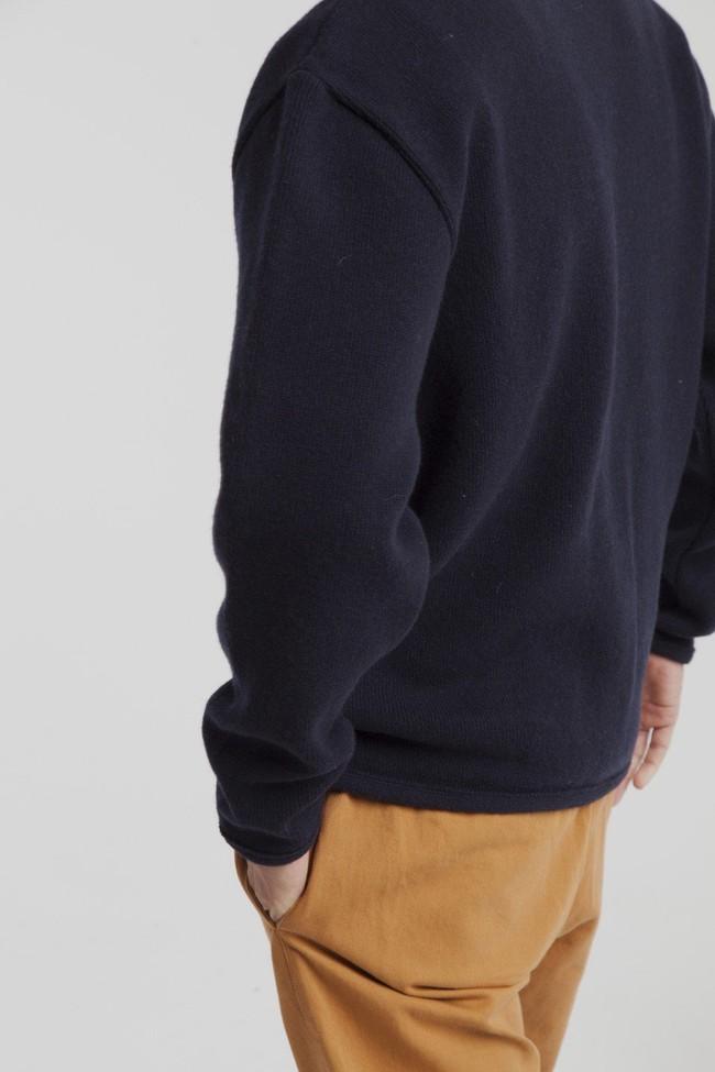 Cardigan marine en laine fine - Thinking Mu num 2