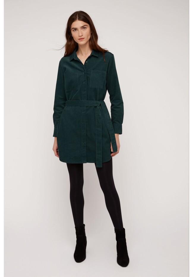 Robe chemise verte velours en coton bio - franca - People Tree num 2