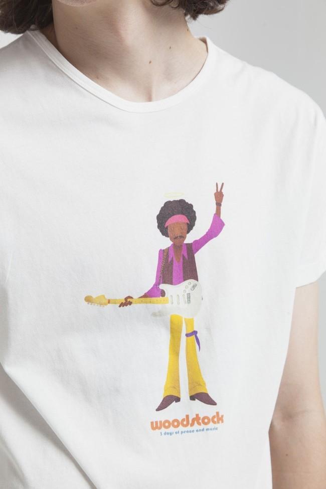 T-shirt imprimé blanc en coton bio - jimihendrix - Thinking Mu