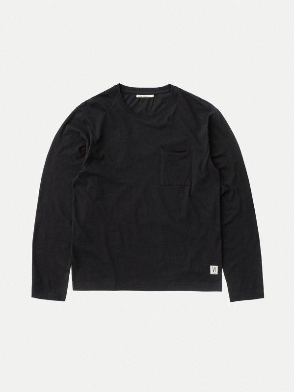 T-shirt manches longues à poche noir en coton bio - rudi - Nudie Jeans num 6