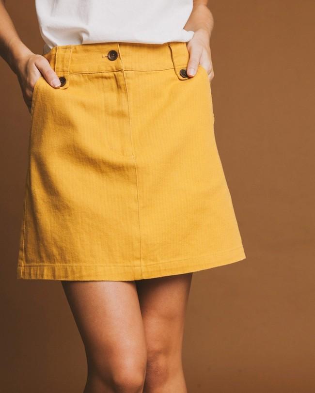 Jupe moutarde en chanvre, coton bio et tencel - marsha - Thinking Mu num 3