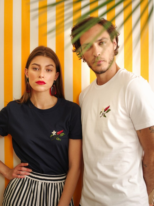 T-shirt brodé blanc en coton bio - piments - Johnny Romance