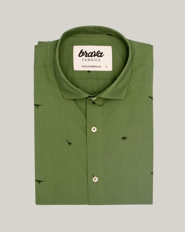 Green jurassic adventure printed shirt - Brava Fabrics num 1