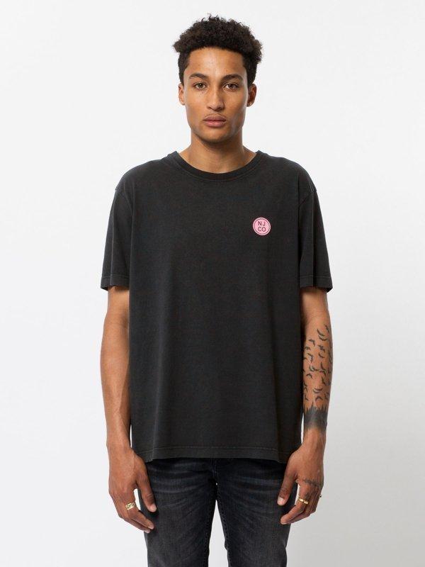 T-shirt ample noir logo rose en coton bio - uno njco circle - Nudie Jeans