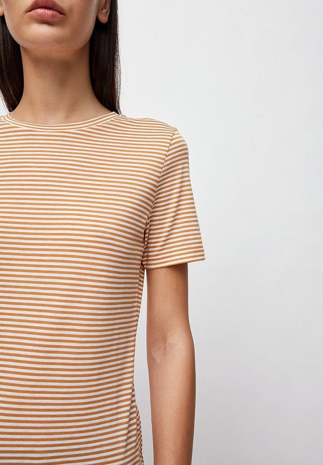 T-shirt rayures ocre en coton bio - lidaa - Armedangels num 1