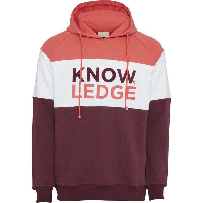Hoodie imprimé bordeaux et blanc en coton bio - Knowledge Cotton Apparel