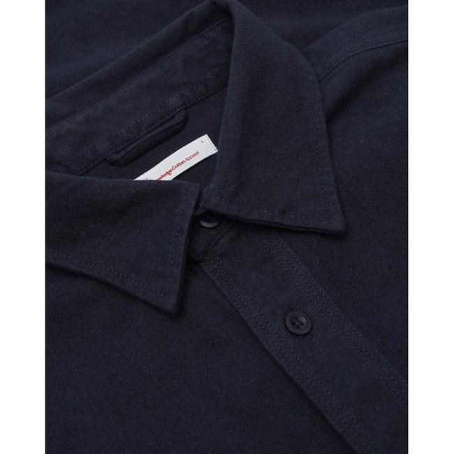 Surchemise manches longues marine effet moleskine en coton bio - Knowledge Cotton Apparel num 3