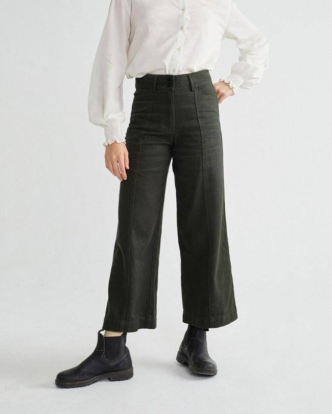 Pantalon large vert kaki en coton bio - kupalo - Thinking Mu