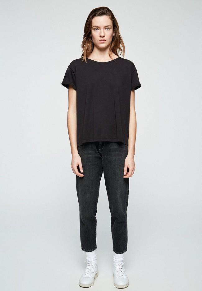 T-shirt avec nœuds noir en coton bio - ilkaa - Armedangels num 2