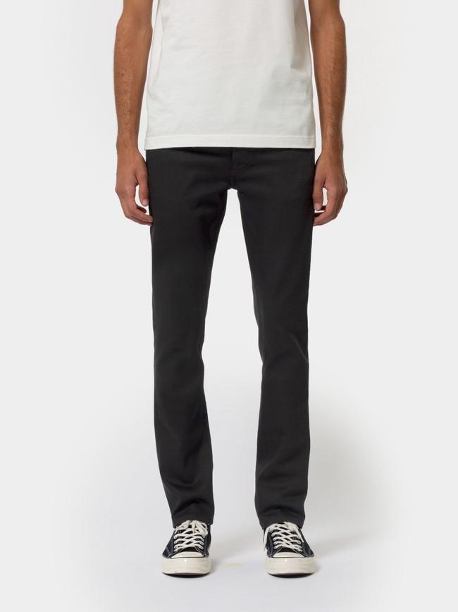 Jean droit noir en coton bio - grim tim dry ever black - Nudie Jeans