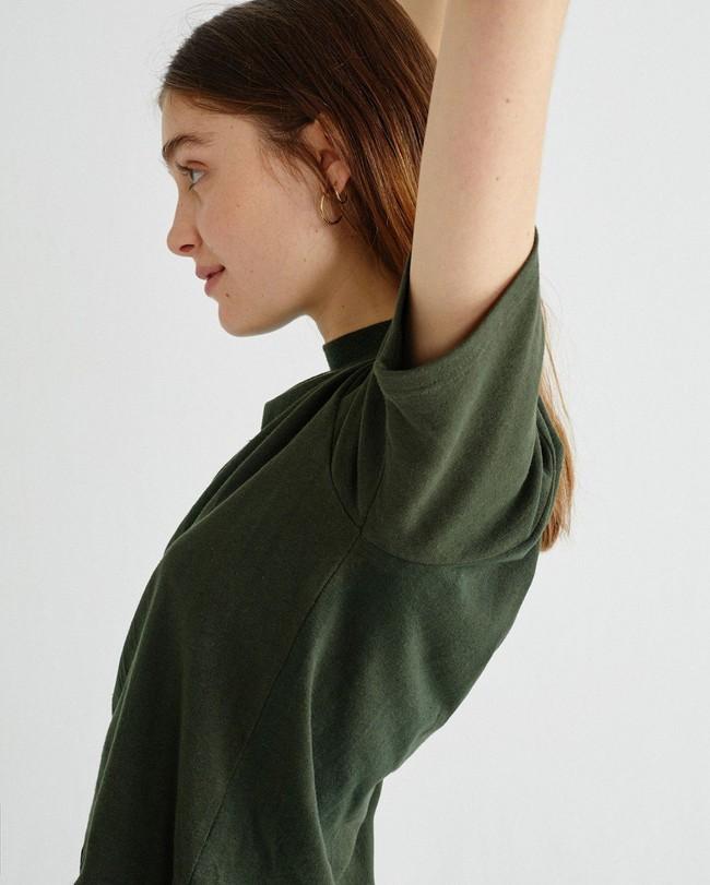 T-shirt manches 3/4 vert forêt en chanvre et coton bio - aidin - Thinking Mu num 2