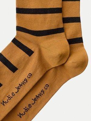 Chaussettes hautes rayées orange et noir en coton bio - olsson - Nudie Jeans num 1