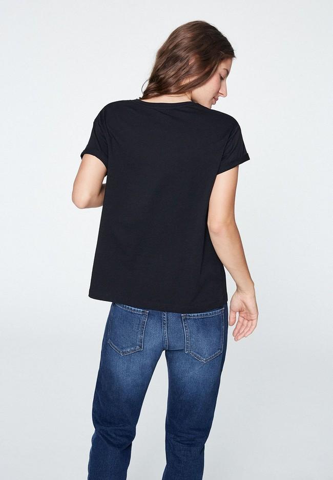 T-shirt noir en coton bio - naalin - Armedangels num 1