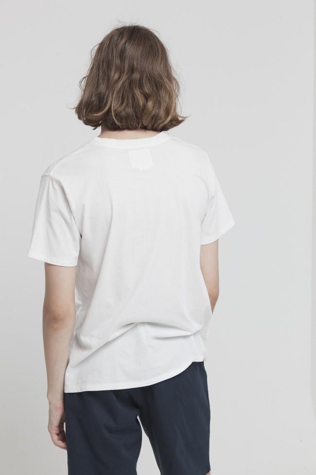 T-shirt avec col boutons blanc en coton bio - brad - Thinking Mu num 1